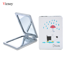 Vicney New Makeup Mirror Double-Folded Square Compact Small Mirrors Creative Cartoon Portable For Home Outdoor Travel