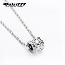 oulai777 women necklaces circle crystal pendants wholesale stainless steel silver male accessories personalized simper necklace