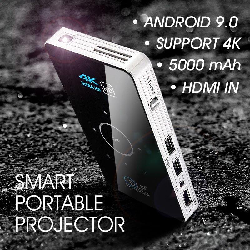 Проектор ALSTON C6 Mini 4K DLP Android 9,0 Wi-Fi Bluetooth 4,0 портативный наружный кинотеатр поддержка Miracast Airplay