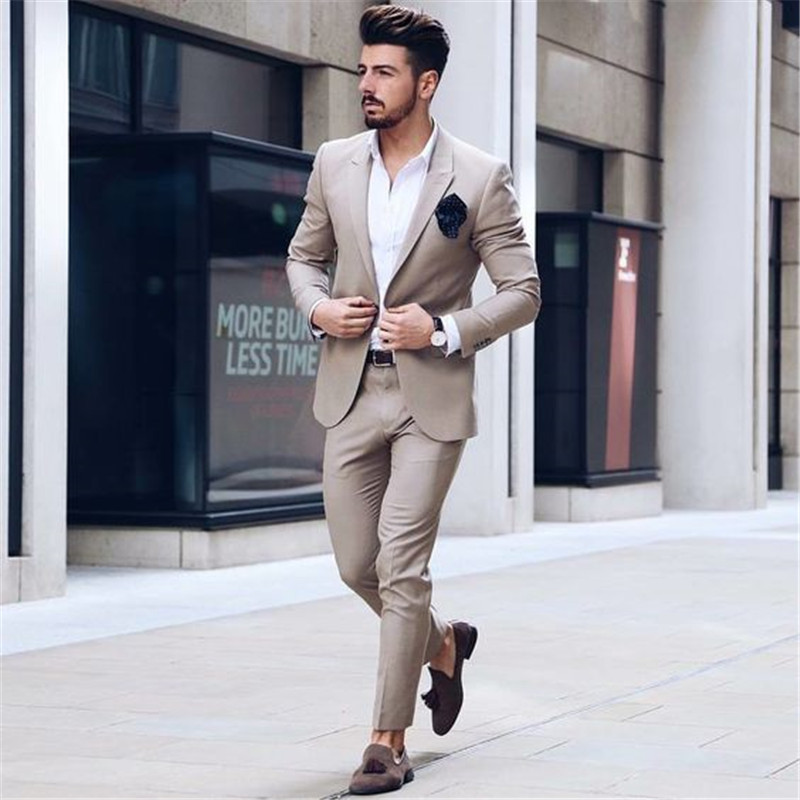 2019 latest coat pant designs champagne man suit for business wedding slim fit formal tuxedo classic jacket smart casual 2 piece