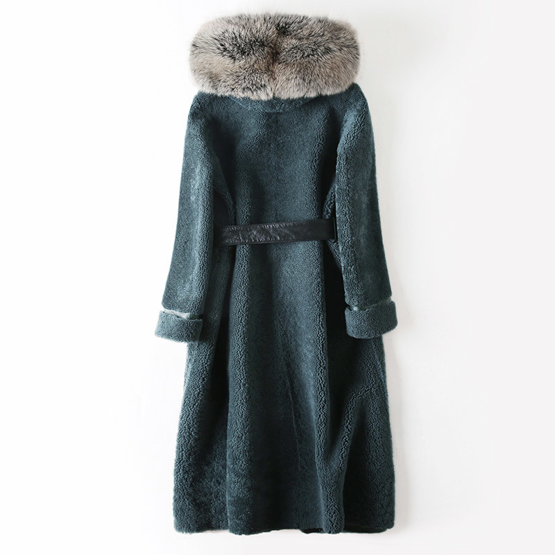 Fur Women's Coat Female Natural Sheep Shearling Double Faced Fur Coat Winter Jacket Women Fox Fur Collar Long Coats MY S