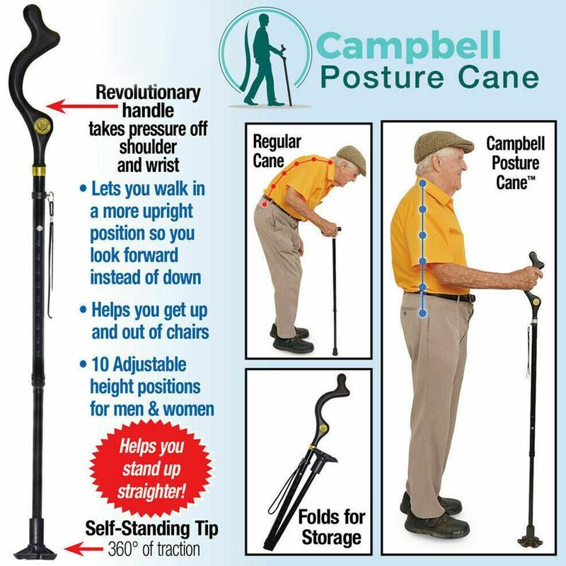 Safety Elderly Walking Stick Telescopic Folding Cane Crutch Walk Lightweight Posture Cane Hiking Crutches For Elderly Men