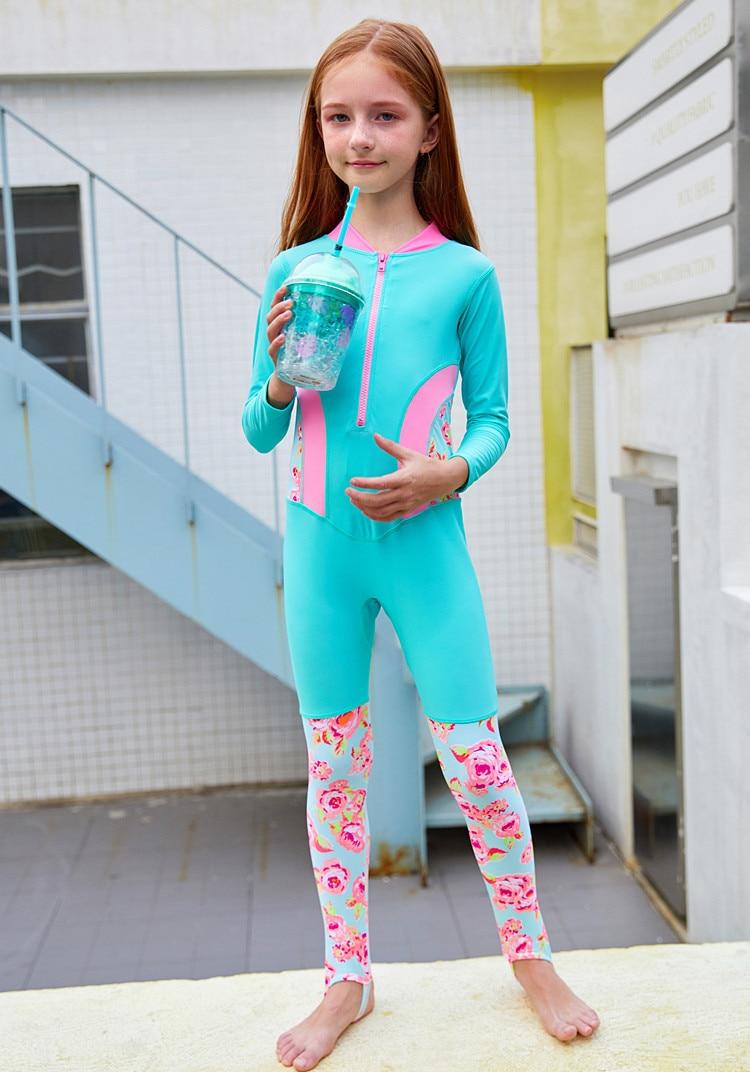 New Style Big Boy Printed Long Sleeve Zipper Stepping Cute GIRL'S Sun-resistant One-piece Two-Piece Set KID'S Swimwear