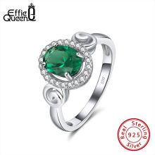 Effie Queen Big Green Crystal Stone AAAA Zircon Ring for Women Man 925 Sterling Silver Finger Rings Jewelry Party Gift DSR176 effie queen trendy big charming women ring 196 pieces zircons paved smoothly real luxury crystal finger ring for party dr123