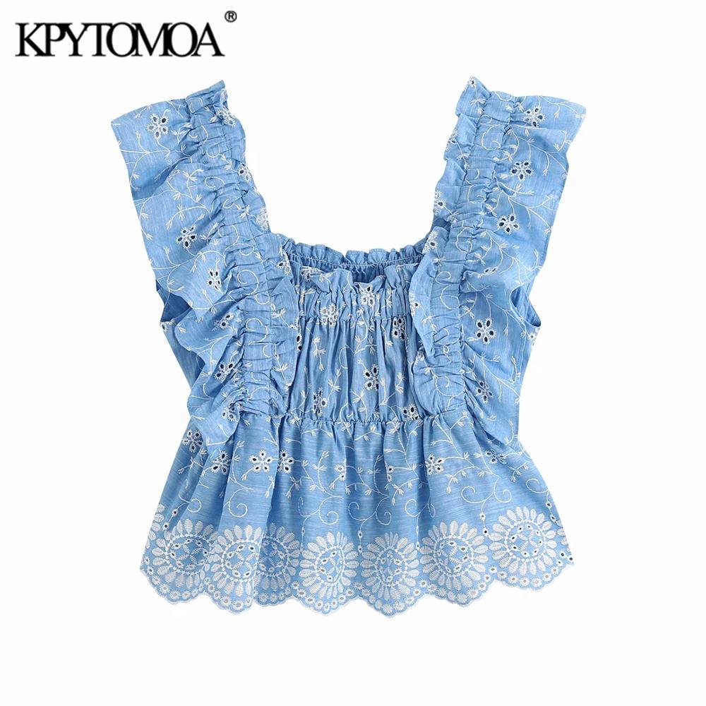 KPYTOMOA Frauen 2020 Süße Mode Cutwork Stickerei Gestellte Blusen Vintage Zurück Elastischen Gekräuselten Weiblichen Shirts Blusas Chic Tops