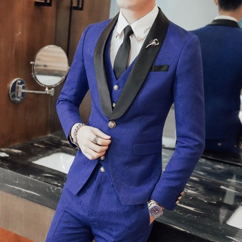 Wedding Suits For Mens Suits 2018 Red Stage Costumes Flower Social Club Outfits Blue Dress Suits Terno Masculino Slim Fit Anzug