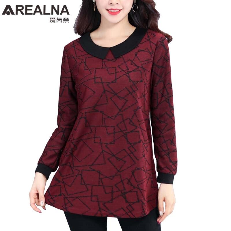 Женская офисная блузка с длинным рукавом и воротником Питер Пэн, модная винтажная блузка размера плюс 2020, красная серая рубашка|Блузки и рубашки|   | АлиЭкспресс