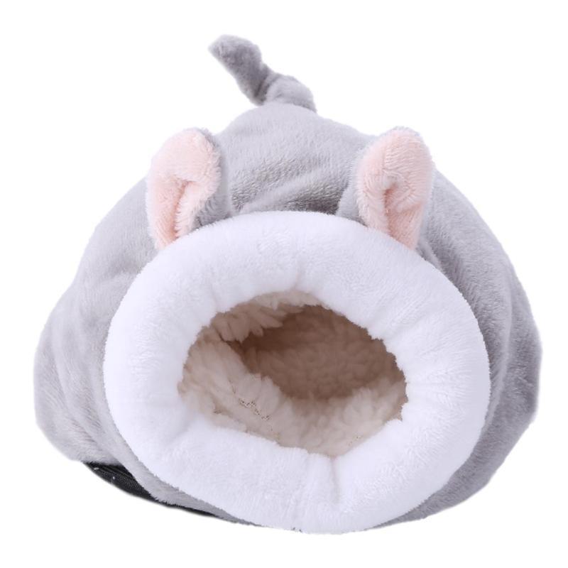 Маленькие животные спящие теплые гнезда прекрасный кролик мышь курица в форме хлопок Ёж хомяк юрта дом кровать товары для животных - Color: Gray