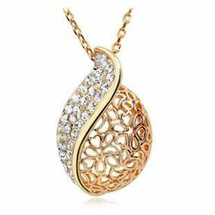 Fashion Women Lover Hollow Leaf Gold Color Rhinestone Necklace Jewelry N125 10g