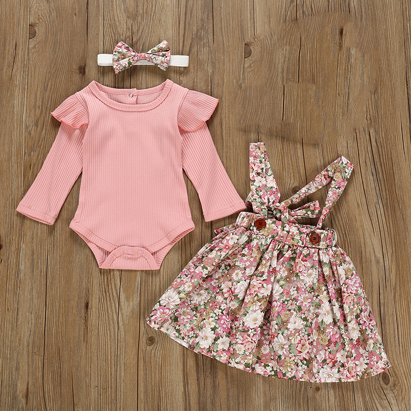 Autumn Infant Baby Girls Clothes Sets 3Pcs Pink Romper Long Sleeve Tops Flower Dress Headband Newborn Clothing 0 3 24 Months Set