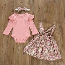 Herbst Infant Baby Mädchen Kleidung Sets 3Pcs Rosa Strampler Langarm Tops Blume Kleid Stirnband Neugeborenen Kleidung 0 3-24 monate Set