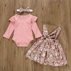 Осень Одежда для новорожденных девочек комплекты одежды 3 предмета в комплекте; Розовый комбинезон; Топы с длинными рукавами платье с цвето...
