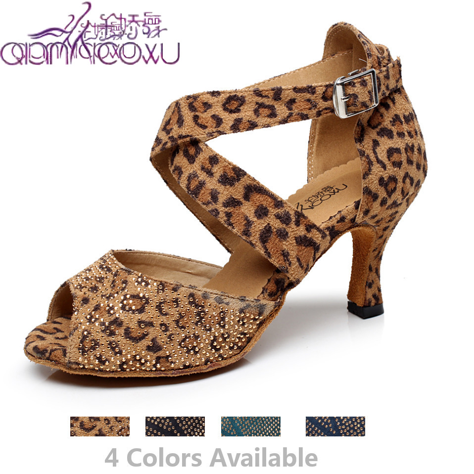 Factory Sale Jazz Salsa Ballroom Latin Dance Shoes For Dancing Women Professional Dancers Latino Summer Sandals Leopard 6232