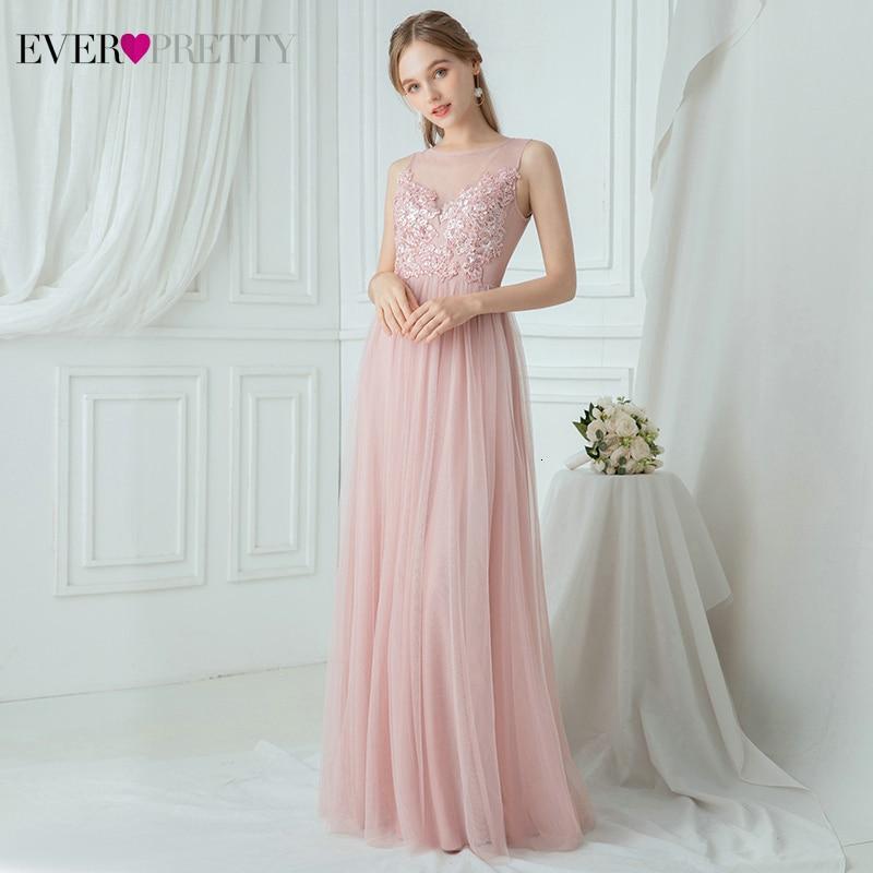 Simple Pink Bridesmaid Dresses Ever Pretty A-Line O-Neck Appliques See-Through Elegant Wedding Party Dresses Vestido Madrinha