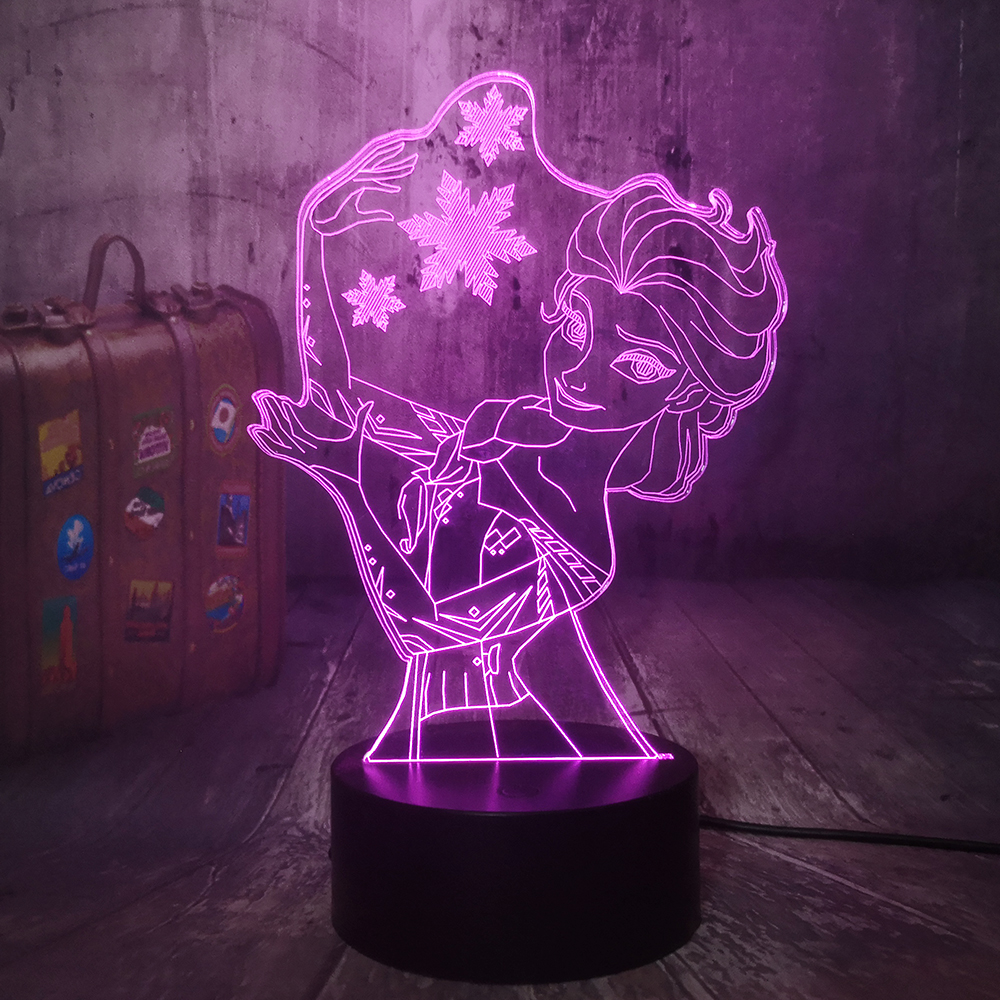 Beautiful Queen Princess Snow Elsa 3D Visual Lamp Illusion LED Night Light Toys Home Decor Girl Baby Birthday Christmas Gifts