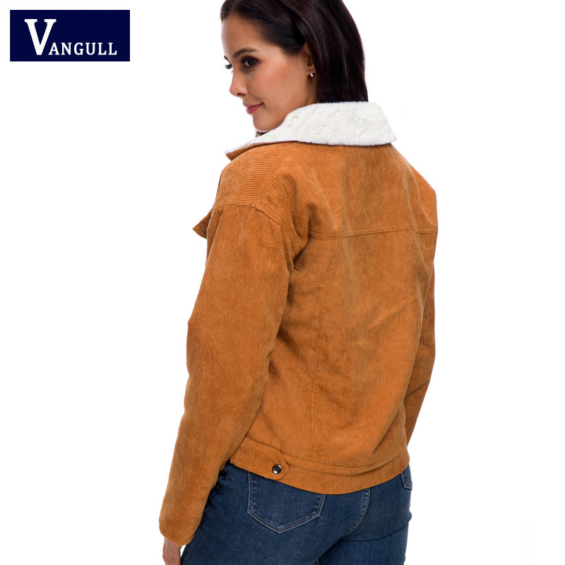 He30b18975d104b82a7fe34908064ef67T VANGULL Women Winter Jacket Thick Fur Lined Coats Parkas Fashion Faux Fur Lining Corduroy Bomber Jackets Cute Outwear 2019 New