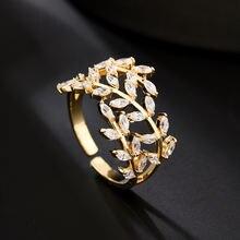 Женские Модные кольца с золотистыми листьями микрозакрепкой