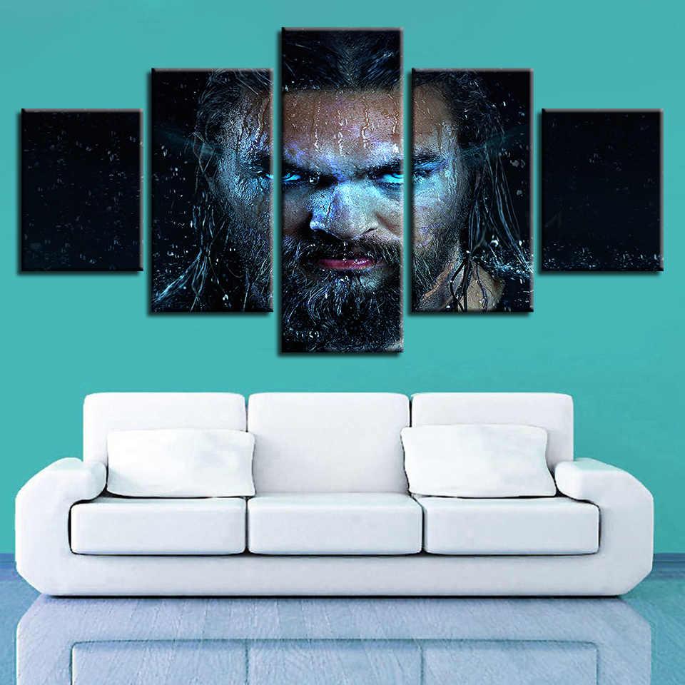 Arte da parede Pintura Decoração de Casa Modular Painel de Lona Imprime HD 5 Aquaman Superhero Justice League Filme God Of War Fotos cartaz