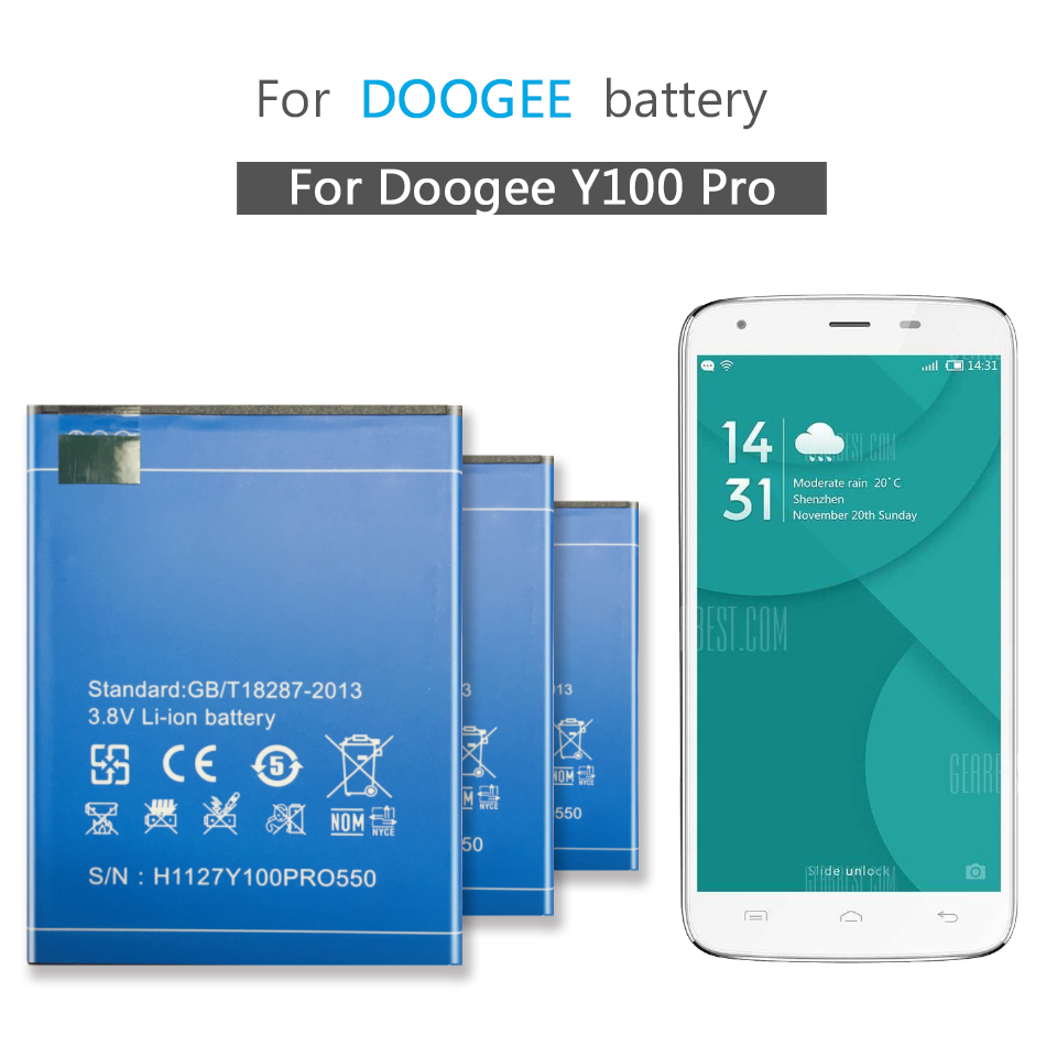 Mobile Phone Battery For <font><b>Doogee</b></font> <font><b>Valencia</b></font> <font><b>2</b></font> <font><b>Y100</b></font> <font><b>Pro</b></font> Replacement Battery 2200mAh image