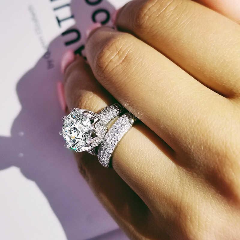 Luxury 11mm Big Zircon Original 925 Sterling Silver Wedding Ring