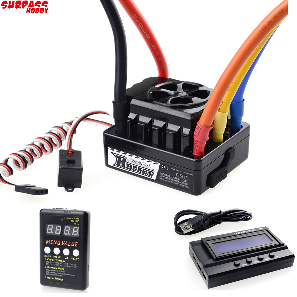 Rocket 45A 60A 80A 120A 150A ESC Brushless Senseless Speed Controller With Program Card For 1/8 1/10 1/12 1/20 RC Car