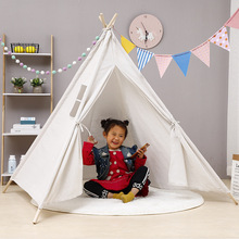 Tents Teepee Game Play House Children's-Tent Canvas Tipi Foldable Indian Baby Outdoor Kids