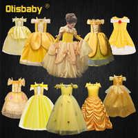 Vestido de princesa Bella de La Bella y la bestia para niña, traje de Halloween para niña, traje de niña para fiesta y boda