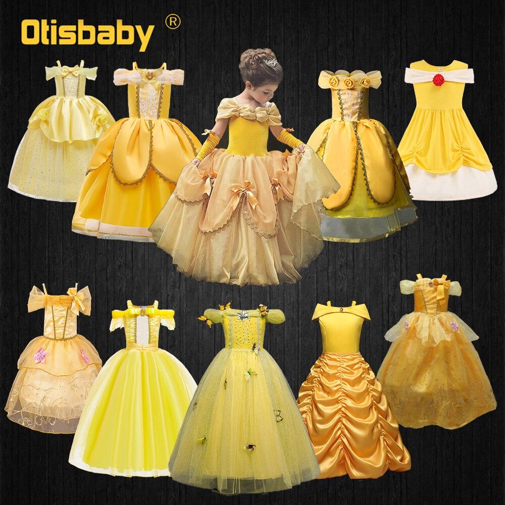 Bela e a fera criança verão princesa belle vestido, meninas halloween belle traje criança vestidos para festa e casamento