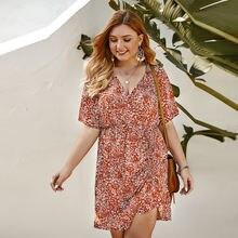 Платье женское летнее с v образным вырезом и цветочным принтом