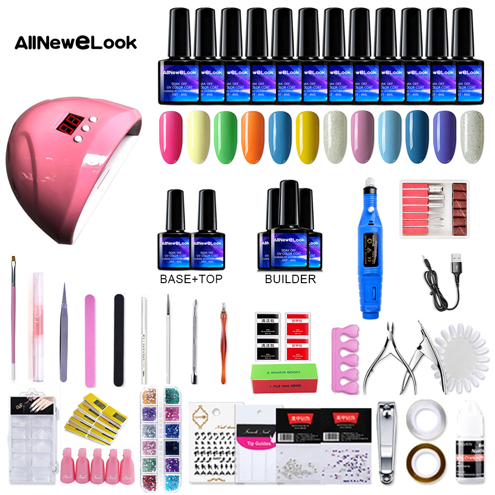 Allnewelook Manicure Set UV LED Lamp Dryer With 48/36/24/12pcs Nail Gel Polish Set Tools Gel Nail Kit