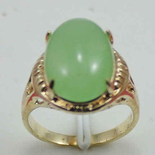 รูปไข่สีเขียวหยก 18KGP ขนาดแหวน: 7.8.9