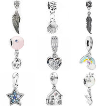 European Luxurious Rainbow House Shell Feather Pineapple Sheep Heart Beads Fit Pandora Charms for Women Making Trinket Jewelry(China)