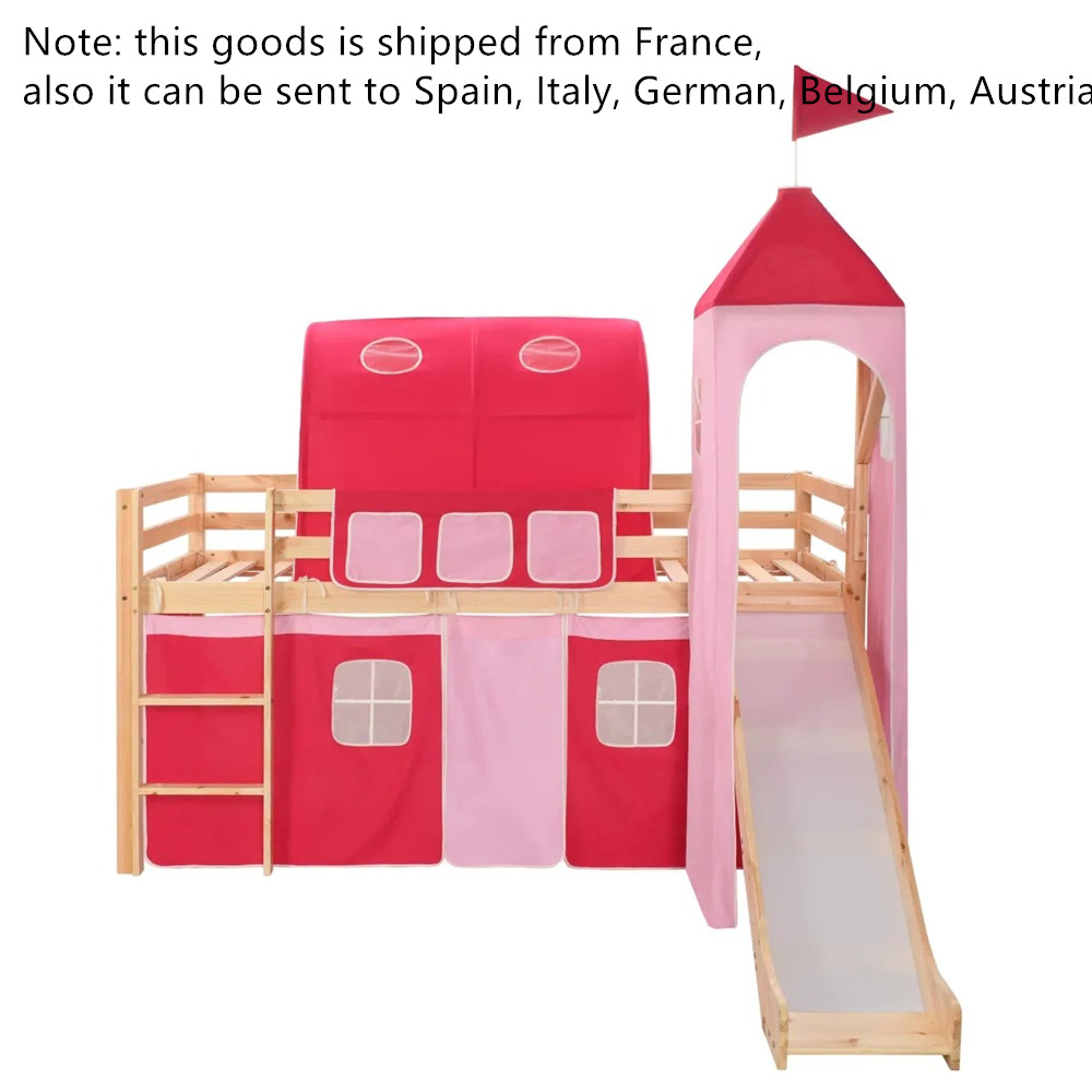 97x208 Cm Children's Loft Bed Frame With Slide Ladder Pinewood Removable Princess-themed Tent Kids Funny Outdoor Indoor Toys