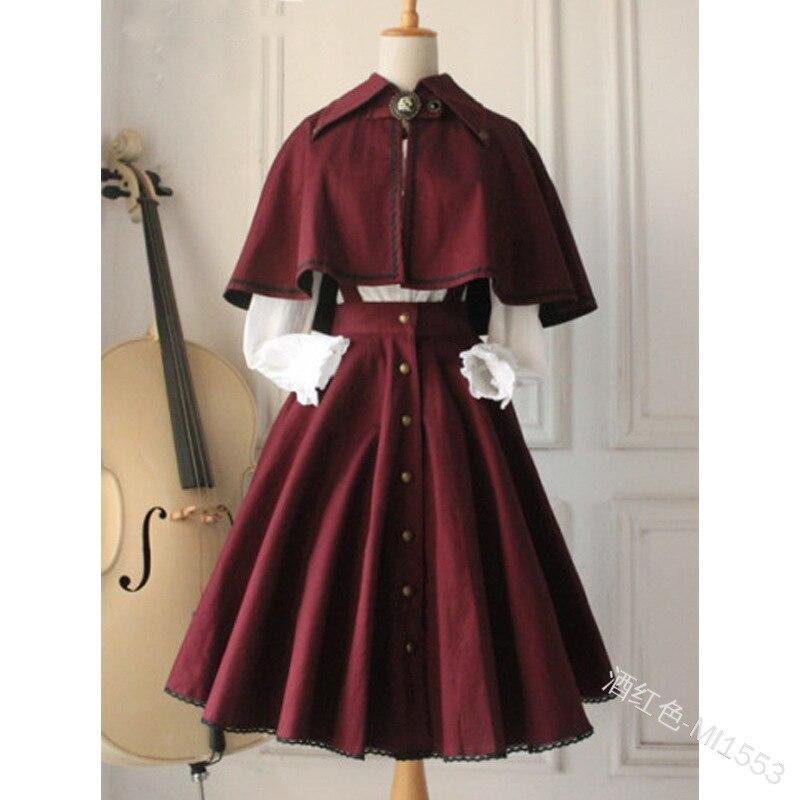 COLDKER Women Lolita Dress Suit Plus Size Cloth 3 Pieces Set Shirt Dress And Shawl S-5XL
