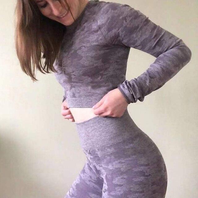 SALSPOR Camo Seamless Yoga Shirts Women Gym Crop Top Long Sleeves Running Sport T-Shirts Women Fitness Yoga Top Workout Tops 5