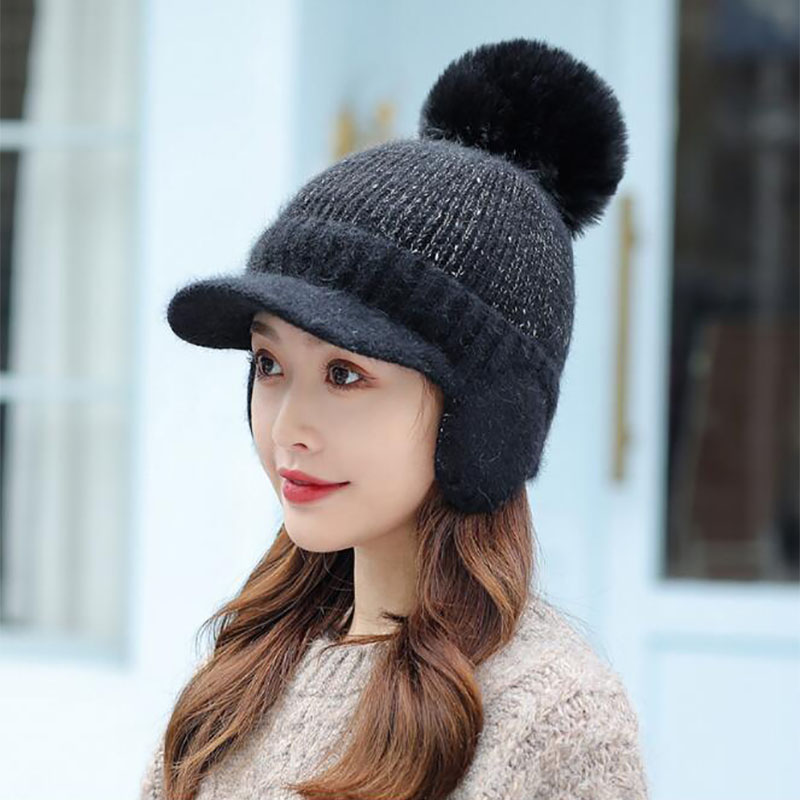 2021 New Women Winter Rabbit Fur Knitted Hats With Pompom Protect Ears Thick Warm Visor Hat  Fashion Female Casual Cap