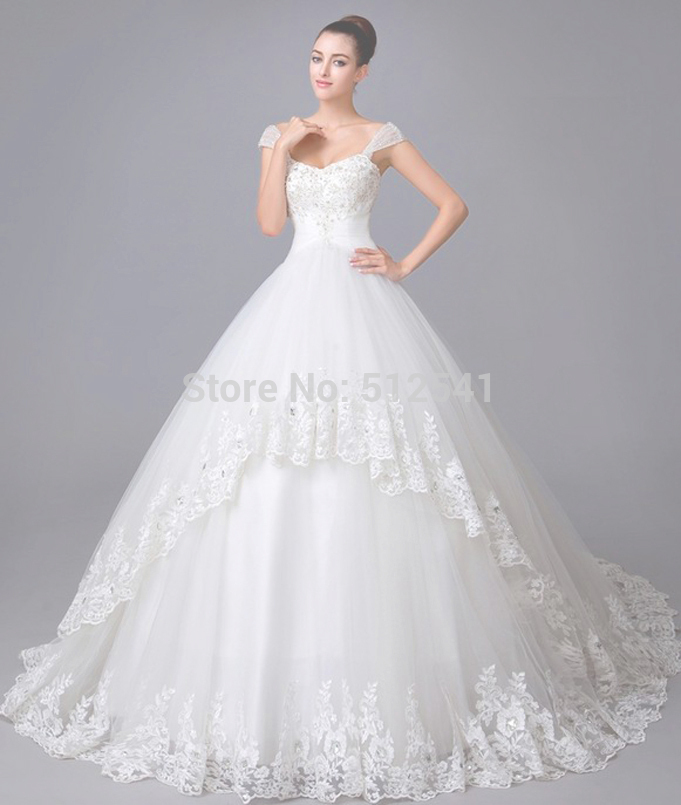 Top Quality Cathedral Train Lace 2019 Wedding Dresses A Line Sweetheart Applique Beads Sequin Bridal Gown