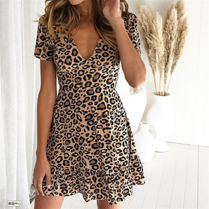 Leopard Dress Women V-neck Mini Dress 2020 Summer Dresses Casual Female Short Sleeve Dress Slim Fit Women Clothes Mini Dresses