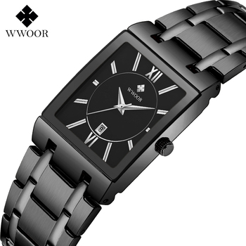 Relogio Masculino WWOOR Top Brand Luxury Stainless Steel Black Mens Square Watches Mens Waterproof Quartz Dress Wrist Watch Male relogio masculino wwoor luxury mens analog quartz business gold wrist watch men full steel waterproof sports watches male clocks