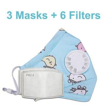 3 PCS Del Fumetto PM2.5 Bambini Maschera Maschera Con 6 Filtri Respiro Bocca Valvola Viso Maschera Per Bambini Lavabile Maschera Maschera di Polvere a prova di sterile In Magazzino 18