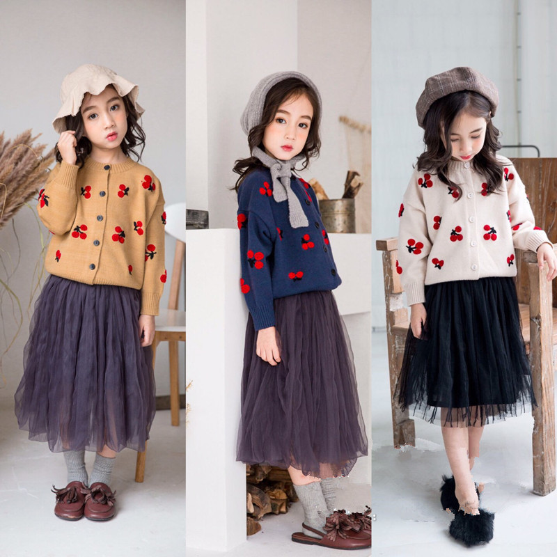 2019 Spring New Style Children Long Sleeve Sweater Girls Fashion Sweater Children Cardigan Cherry Coat H054