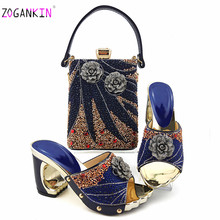 Fashion Italian Design High Heels Shoes and Bag To Match Nigerian Shoes and Bag Set in Royal Blue Lady Party shoes and Bag(China)