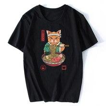 Camiseta Neko Ramen de Anime con diseño de gato japonés, Camiseta clásica de algodón estético de alta calidad para Hombre, Camisetas de calle Harajuku para Hombre