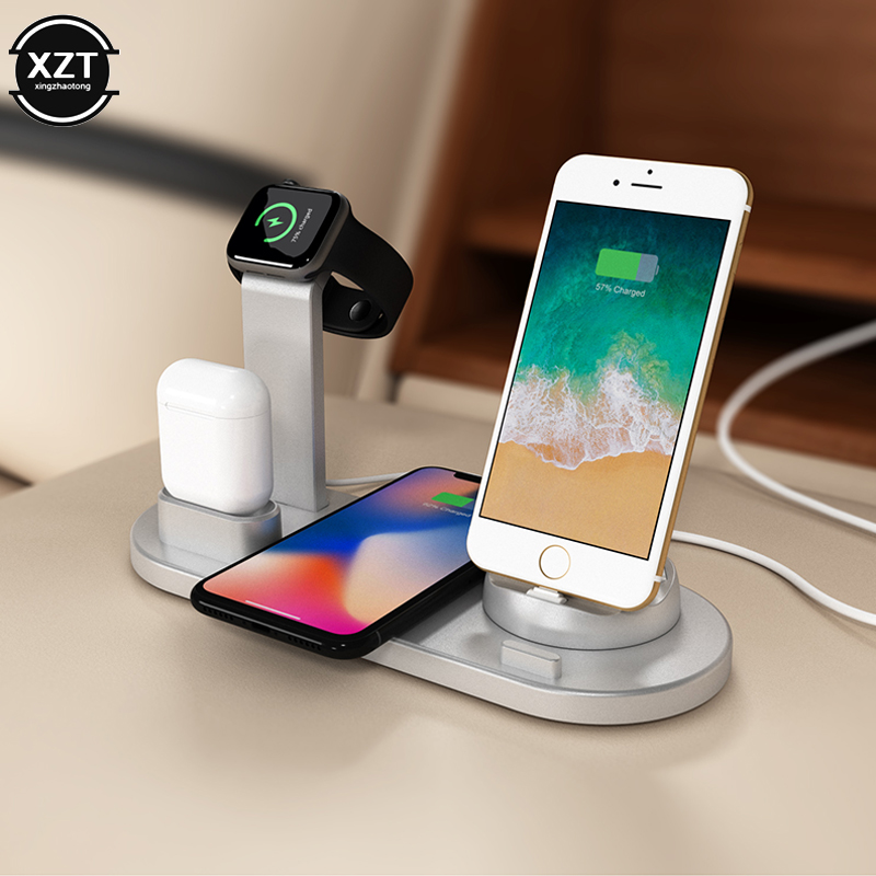 4 in 1 Charging Dock Station For Apple Watch 5 4 3 2 1 iPhone 11 X XS XR 7 8 Airpods 10W Qi Wireless Charger for Samsung S10 S9|Wireless Chargers| |  - title=