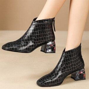Image 5 - FEDONAS סתיו חורף Blingbling קריסטל המפלגה נעלי אישה באיכות כבש נשים קרסול מגפי קלאסי גדול גודל מגפיים קצרים