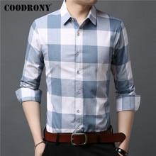 COODRONY длинный рукав рубашки Мужская одежда весна осень чистого хлопка рубашки бизнес случайный классический большой плед Камиза masculina C6019