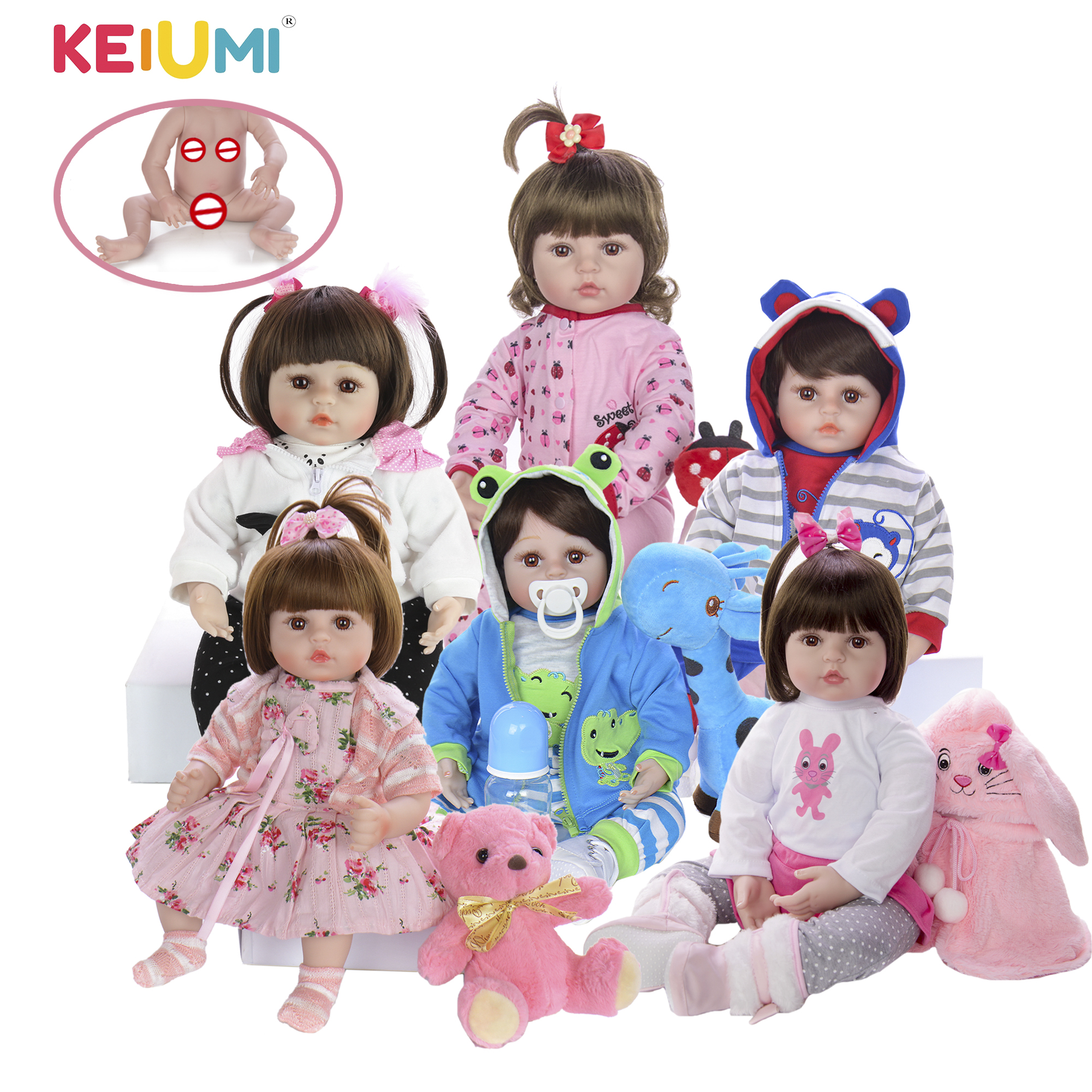 Wholesale KEIUMI Full Silicone Vinyl Reborn Baby Dolls Fashion Waterproof Doll Baby Toy For Kids Birthday Gifts Best Playmate(China)