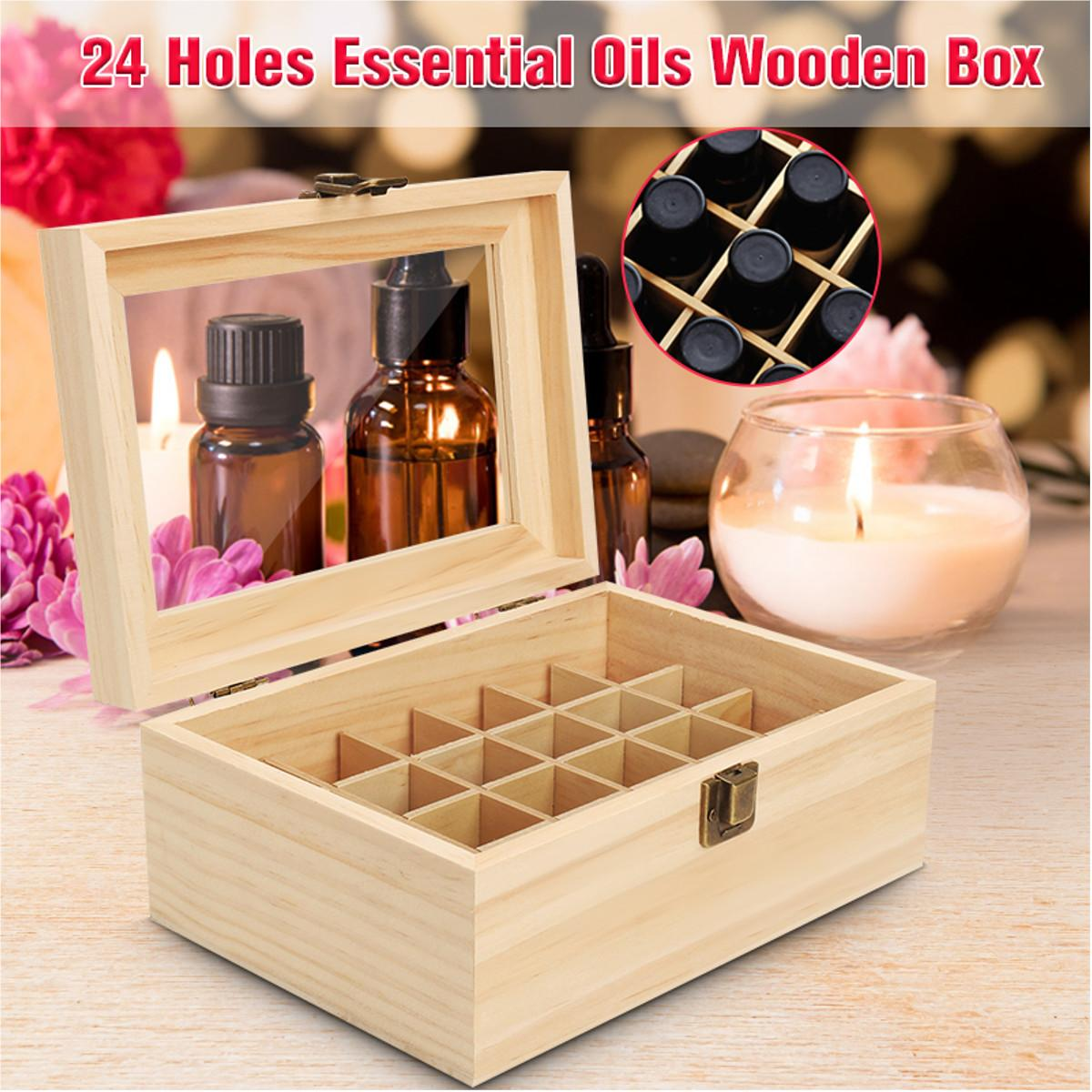 Essential Oils Box 24 Slots Clear Window Aromatherapy Storage Organizer 5ml-15ml Bottles Solid Pine Wood Case Holder Container