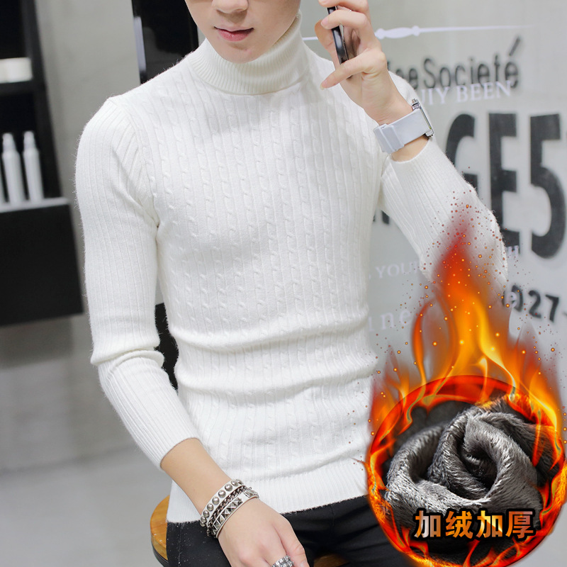 Sweater Men Long Sleeve Winter Beige White Gray Black Navy Wine Red Pullovers Fleece Turtleneck Casual New Men Sweater