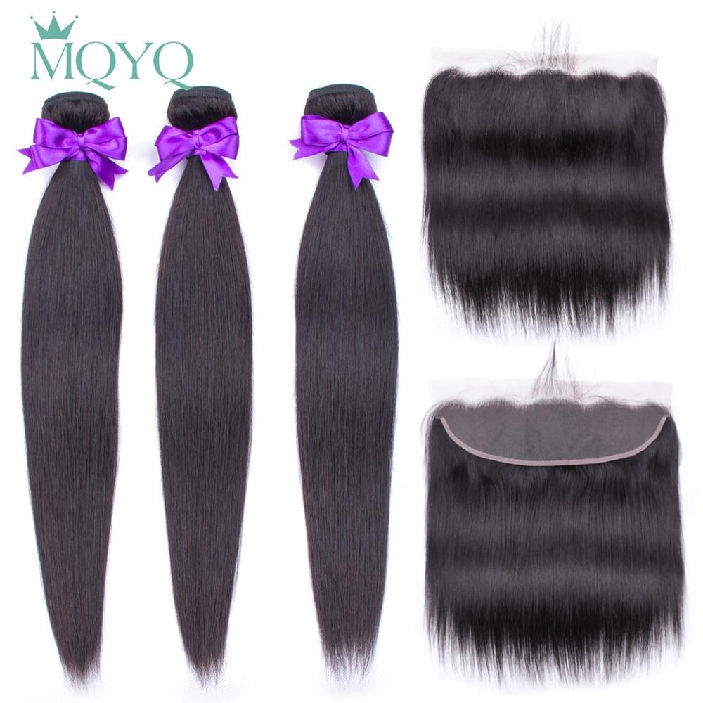Mqyq pacotes com frontal peruano cabelo reto não remy 3 pacotes com 13*4 fechamento frontal do laço 100% extansões do cabelo humano